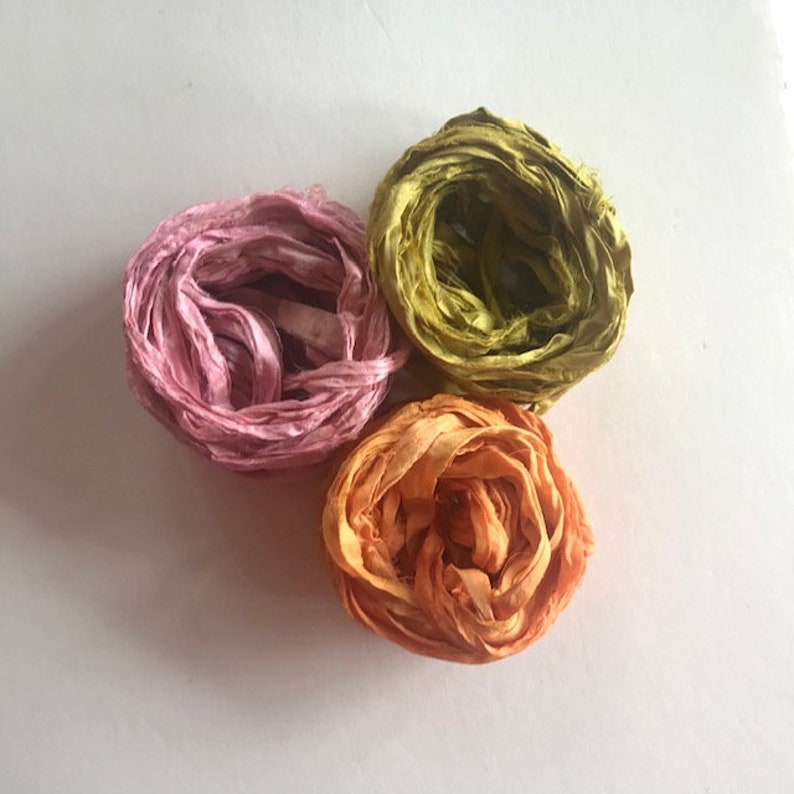 Recycled Sari Silk Ribbon  Pink Chartreuse Tangerine Ribbon image 0