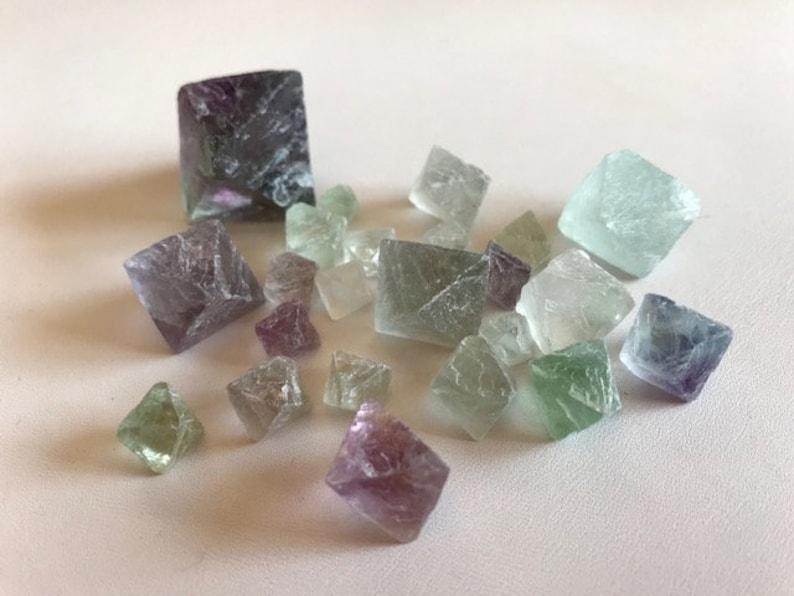 Fluorite Octahedron Lot  Natural Rainbow Fluorite Octahedron image 0