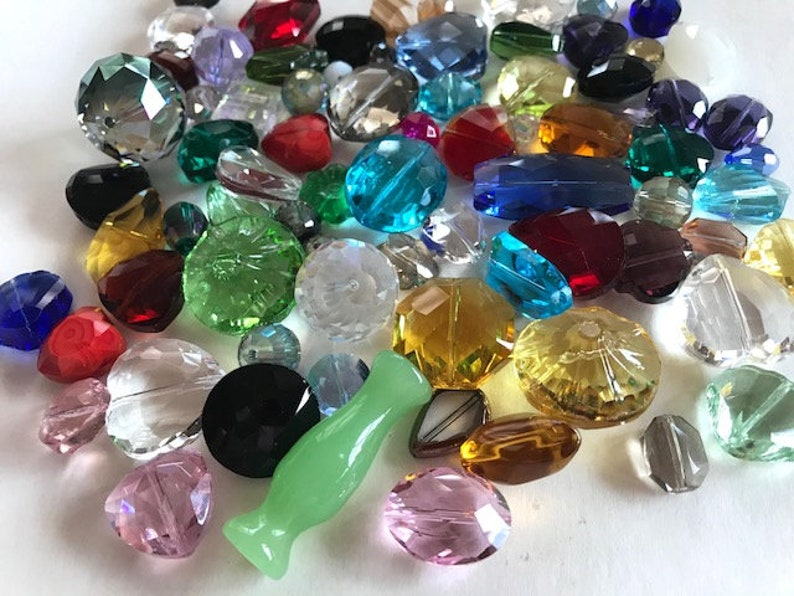 Multi Colored Crystal Bead Lot  Faceted Glass Crystal Beads  image 0
