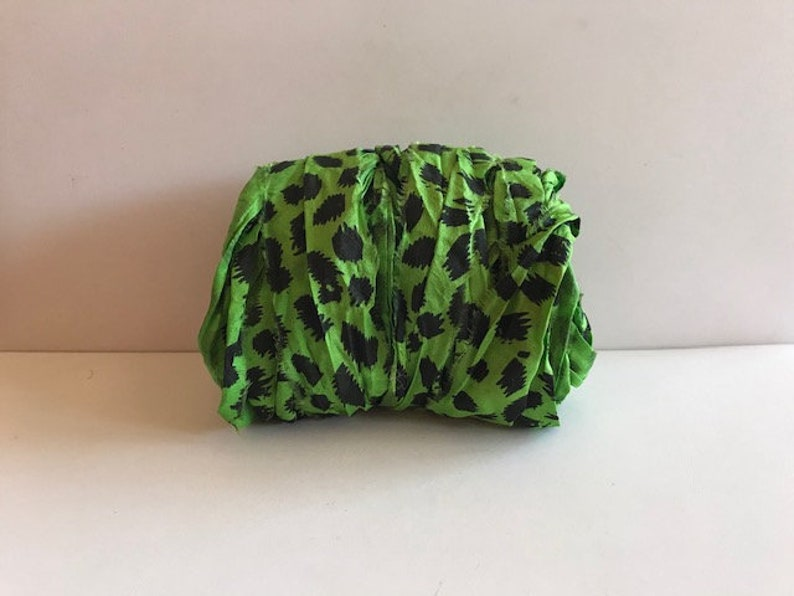 Recycled Silk Sari Ribbon  Green Cheetah Print Sari Silk image 0