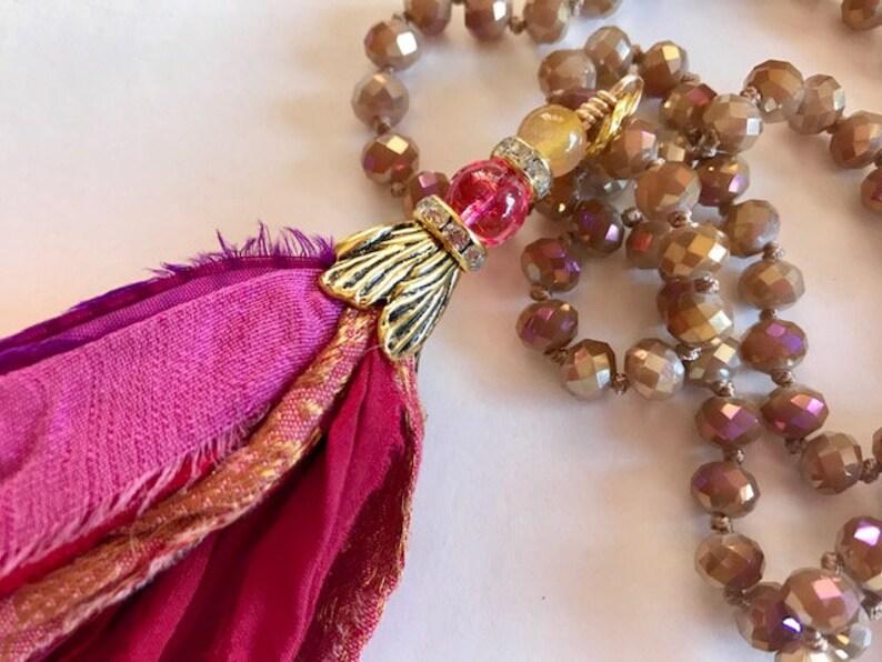 Pink Border Silk Tassel Necklace  Hand Knotted Sari Tassel  image 0