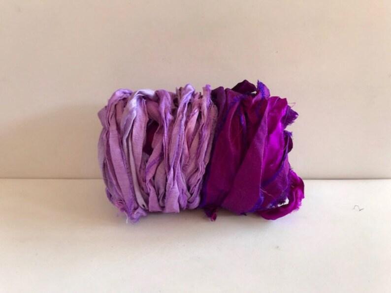 10 Yards Sari Silk Ribbon  Recycled Sari Silk Ribbon  Berry image 0