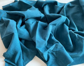 Lambskin Leather Remnants- Teal Soft Leather Piece - Leather Craft Lot