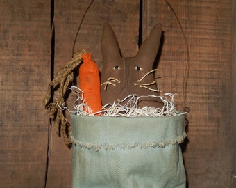 Prim Easter basket with bunny and carrot - Ready to Ship