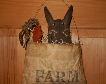 Prim Bunny Farm bag with excelsior and carrot - Ready to Ship