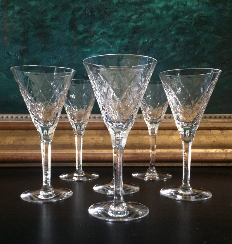 Careful Lovely Floral Etched Tall Stemmed Cordial Wine Sherry Glass Decorative Arts Have 11