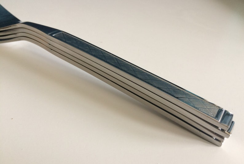 Vintage Plaid Stainless Flatware ESTIA Diamond Mid Century Stainless Flatware Set  \u2022Service for 8\u2022 32 Piece Near Mint
