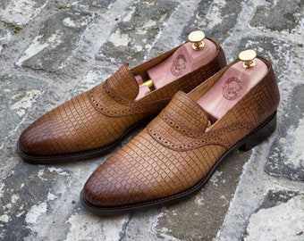 Mr. Aubrac - hand dyed ginger with burnt toe and heel and alligator embossed leather