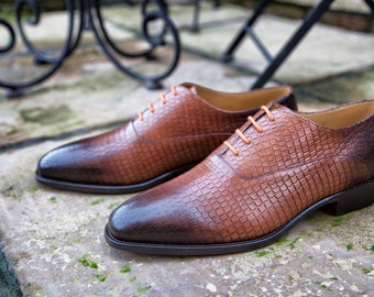 Mr. Abbs - hand dyed nutmeg with alligator embossed leather and burnt toe and heel