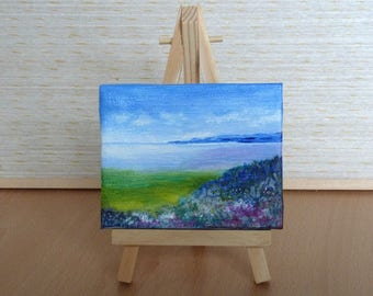 Heather Coastline Original Tiny Acrylic Painting, Miniature Painting, Original Artwork, Fine Art, Small Canvas, Art & Collectibles
