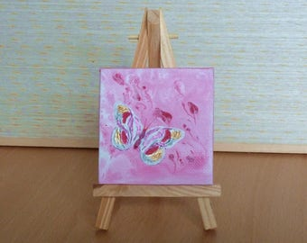Abstract Pink Butterfly Tiny Original Acrylic Painting on Canvas, Miniature Painting, Abstract Art, Art & Collectibles