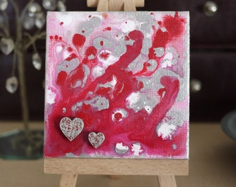 Sea of Love Tiny Original Acrylic Painting on Canvas,  Miniature Painting, Romantic Art, Abstract Art, Art & Collectibles