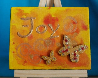 Joy Abstract Yellow and Gold Butterflies Tiny Original Acrylic Painting on Canvas, Miniature Painting, Abstract Word Art, Art & Collectibles