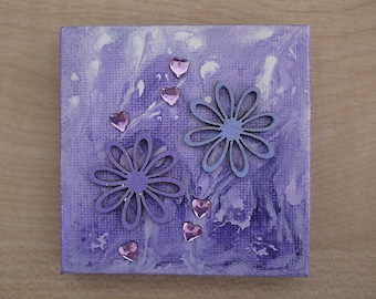 Purple Flowers and Hearts Tiny Original Acrylic Painting on Canvas, Miniature Painting, Romantic Art, Abstract Art, Art & Collectibles