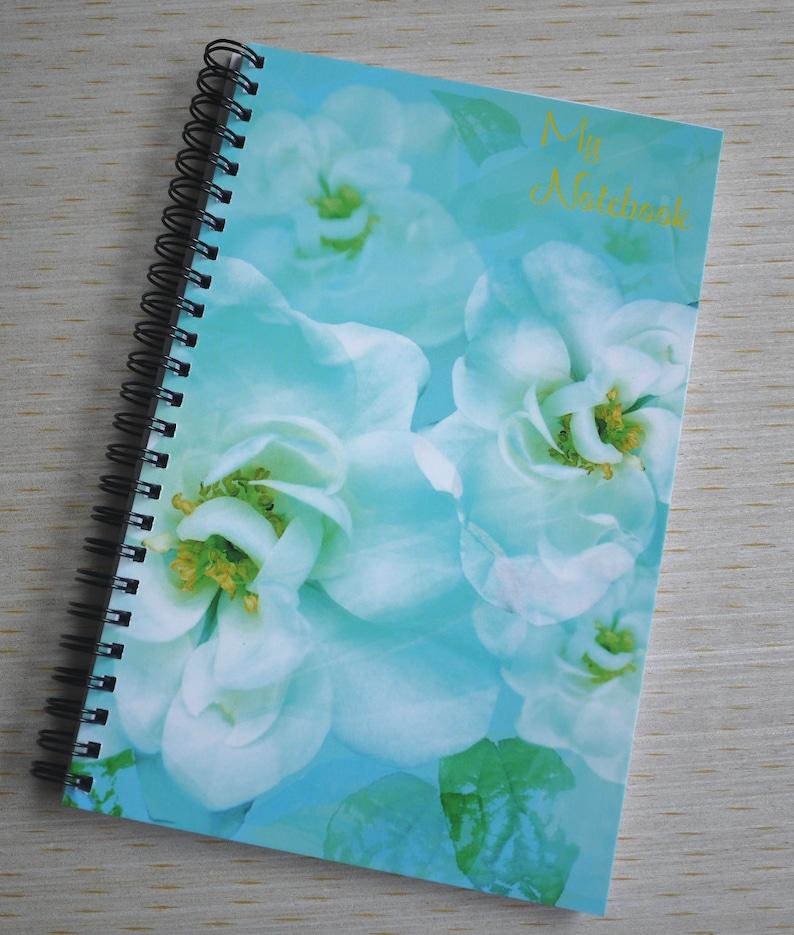 White Wild Rose Digital Print Spiral Bound Notebook From my image 0