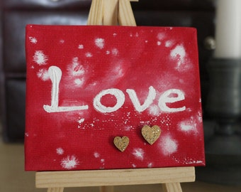 Love and Hearts Tiny Original Acrylic Painting on Canvas, Miniature Painting, Romantic Art, Small Artwork, Home Decor, Art & Collectibles