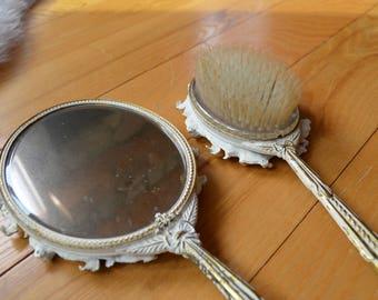 Vintage Globe Vanity Brush and Mirror Set