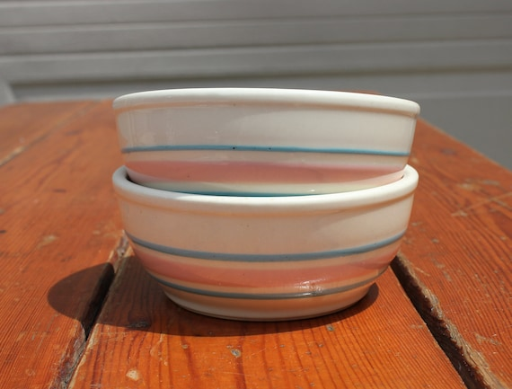 Set of 2 Pink and Blue Striped Bowls