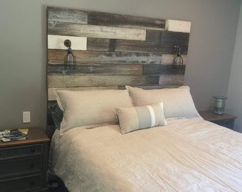 Reclaimed Wood Headboard distressed farmhouse lavender lullabies rustic old wood bed king queen full twin cottage