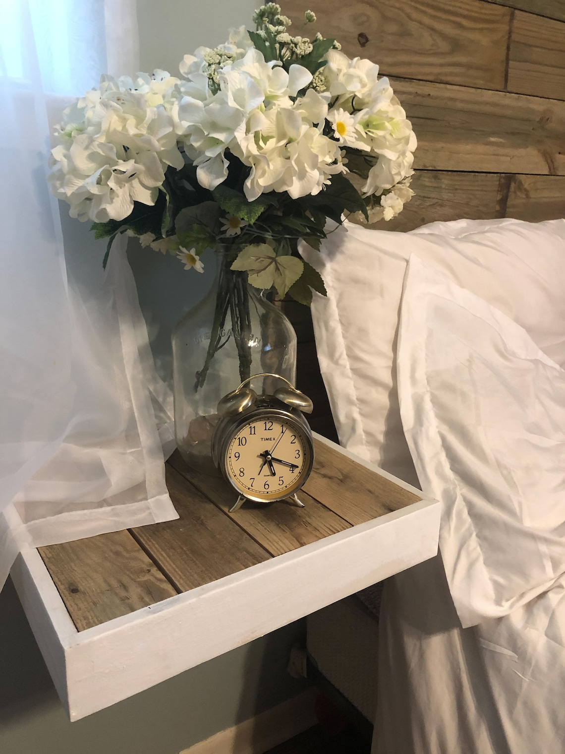 White Floating farmhouse nightstand