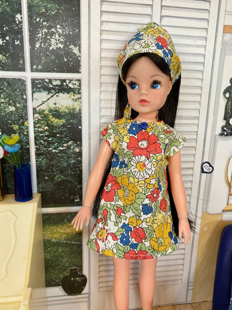 Red/yellow/blue Liberty dress and headscarf for Sindy and image 0