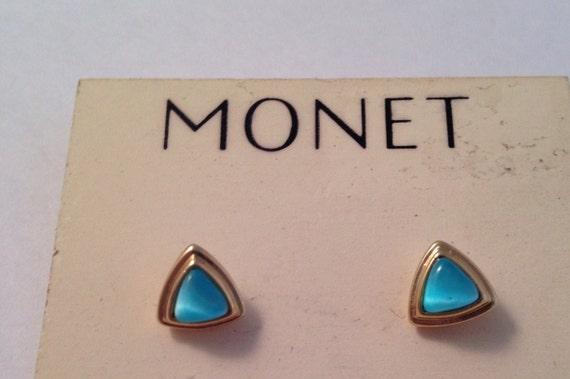 Vintage Monet Signed Aqua Ice Blue Stud Pierced E… - image 1