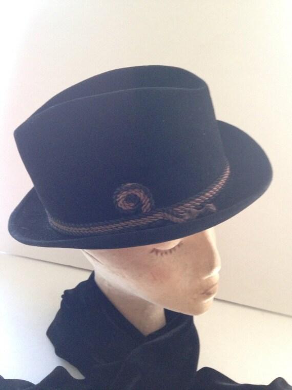 Vintage Fedora Black Hat Size 6 7 8 7 Fedora Black Velvet  cba5019c6bb