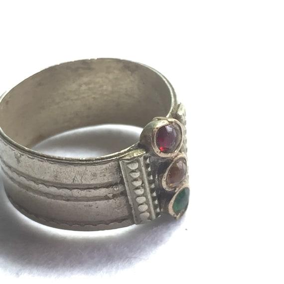Antique Victorian Ring Wide Band Antique Rhineston