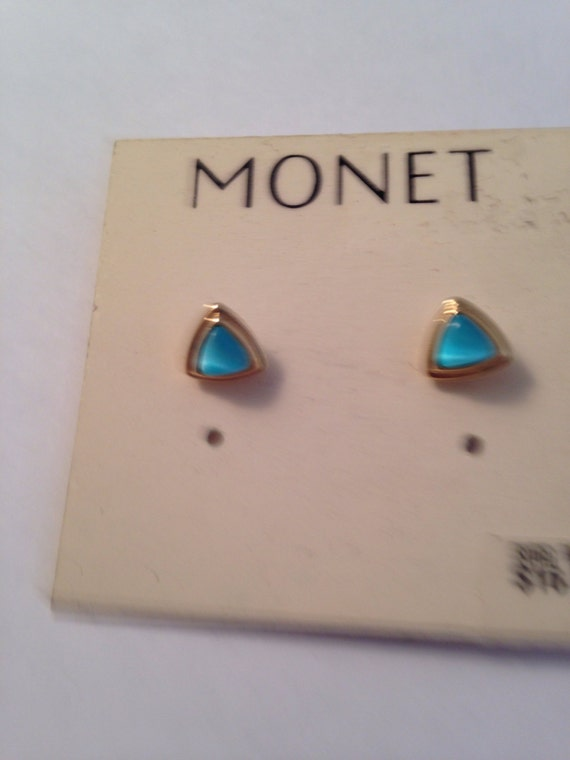 Vintage Monet Signed Aqua Ice Blue Stud Pierced E… - image 2