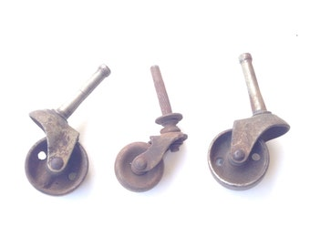 Antique Steel Caster Furniture Wheels Steam Punk Three