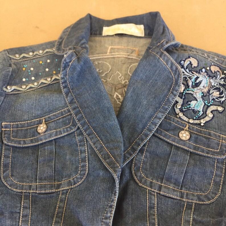 Denim Jean Jacket Vintage Unicorn Rhinestones 1987 Size S Petite Embelished 1980s