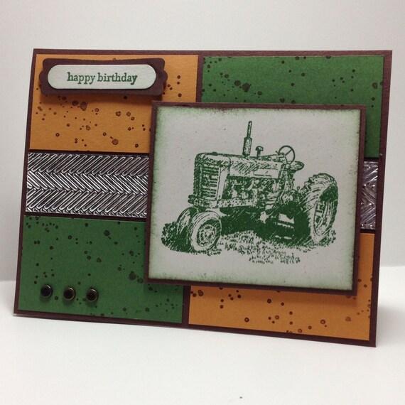 John Deere Birthday Cardhand Stampedbig Green Etsy