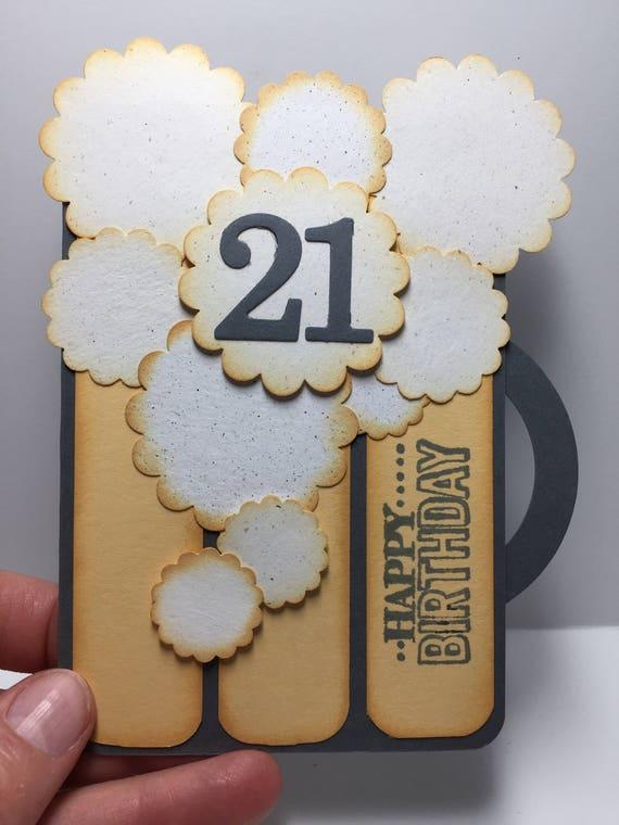 Beer Mug Birthday 21st Card For Him