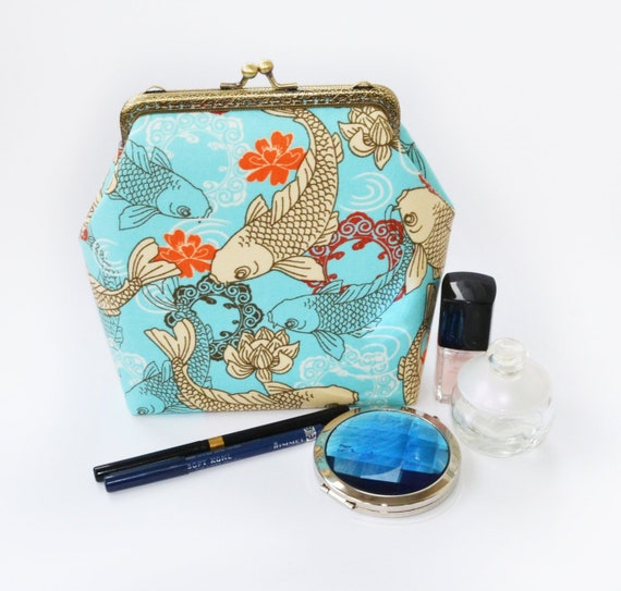 4469e52e0281 Koi fish large makeup bag, Japanese fish metal frame clutch, Sea life  cosmetic pouch, Kiku flower kiss lock handbag