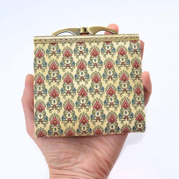 Womens Kreditkarte Brieftasche Visitenkartenhalter Kreditkartentasche Falten Kartenetui Kolonialstoff Jakobinischen Druck