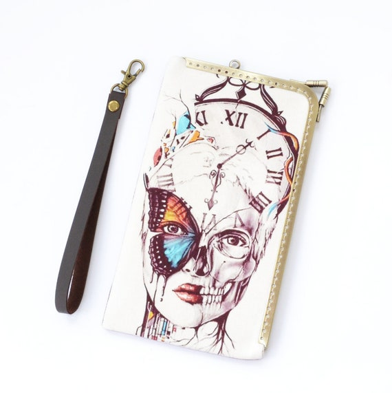 women skull wristlet phone case, gothic butterfly iphone 7 8 X XS Max plus cover, vintage clock phone bag clutch, samsung wallet