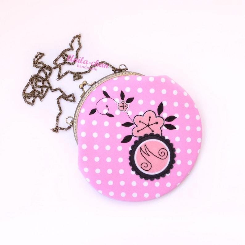 1806af5c9b75 Marinette purse Miraculous Ladybug cosplay handbag Pink polka dot crossbody  bag Metal frame pouch