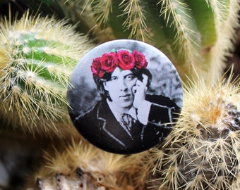 Oscar Wilde in a flower crown 32mm pin back badge