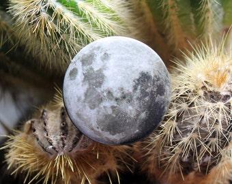 Full moon photograph 32mm pin back badge