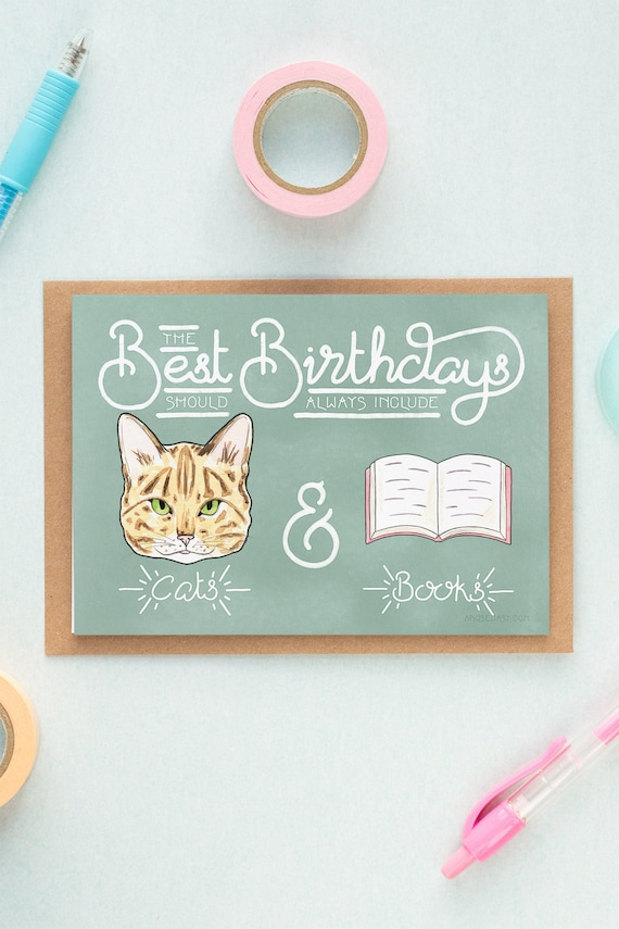 Bookworm Cats Books Birthday Card Crazy Cat Lady Card Book Etsy