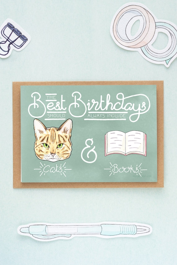 Bookworm Cats Books Birthday Card Crazy Cat Lady Book