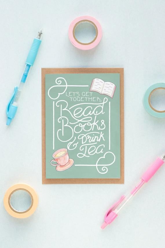 Read Books Drink Tea Friend Card Book Birthday Card Etsy