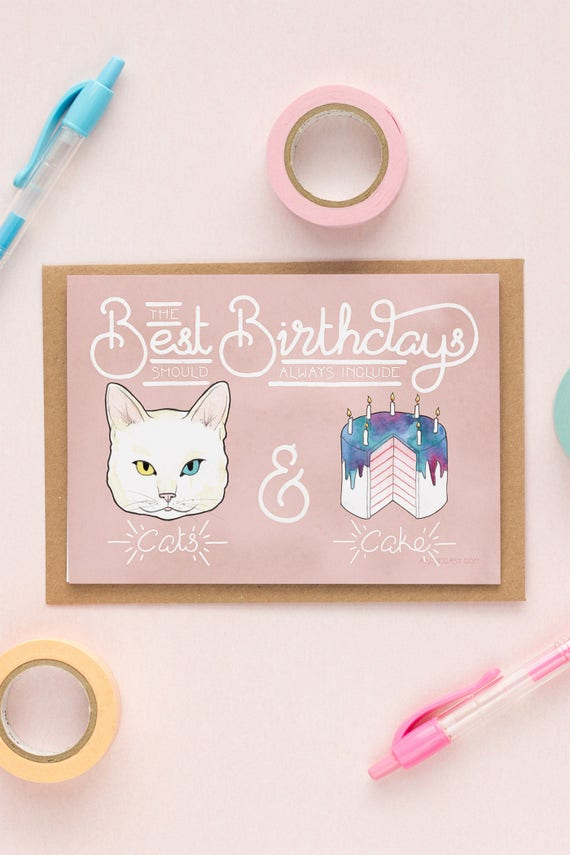 Outstanding Cats Cake Birthday Card For A Cat Lover Or Crazy Cat Lady Etsy Funny Birthday Cards Online Elaedamsfinfo