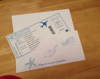 Boarding pass wedding invitation x 10