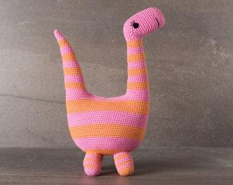 Barbara the Brontosaurus;  amigurumi, crocheted, crocheted critter, baby, toy, softie, gift.
