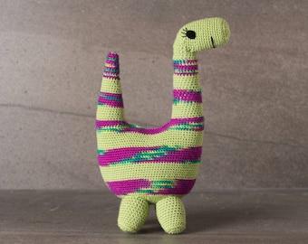 Crochet. Amigurumi. Beatrice the Brontosaurus; handmade, crocheted animal, baby, child, toy, softie, gift.