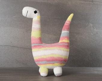 Crochet. Amigurumi. Bridget the Brontosaurus; crocheted critter, handmade, baby, child, toy, softie, gift.