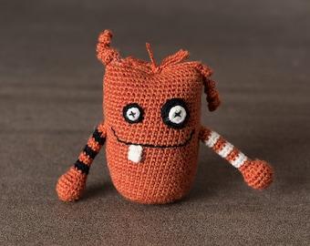 Crochet. Amigurumi. Bogart the Mini Monster; stress ball, handmade, crocheted critter, executive toy, softie, gift.
