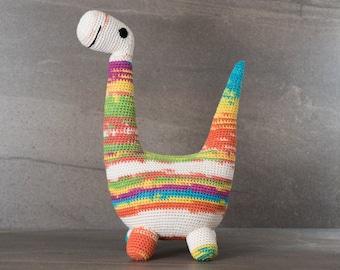 Crochet. Amigurumi. Blair the Brontosaurus; crocheted critter, handmade, baby, child, toy, softie, gift.