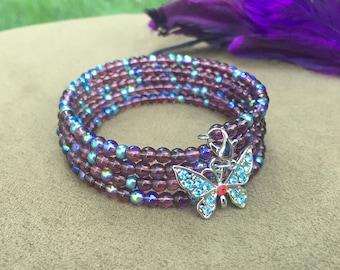 Beaded Bracelet,  Butterfly Charm, Memory Wire Bracelet, Wrapped Bracelet, Czech Beads, Handmade Jewelry, Wrap Bracelet, Cuff Bracelet